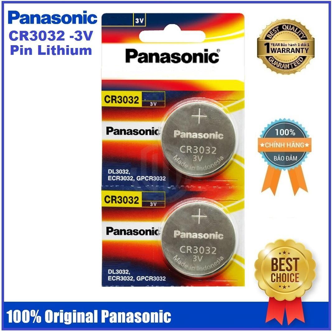 Vỉ 2 viên pin nút áo Panasonic Lithium CR3032 - 3V kích thước 30mm x 3,2mm Made in Indonesia