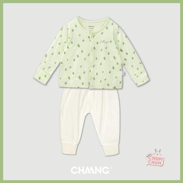 Nơi bán [NEW] Set Bộ Dài Cotton Cúc Giữa Summer Xanh Lá 0-6 tháng Chaang Babychumchum