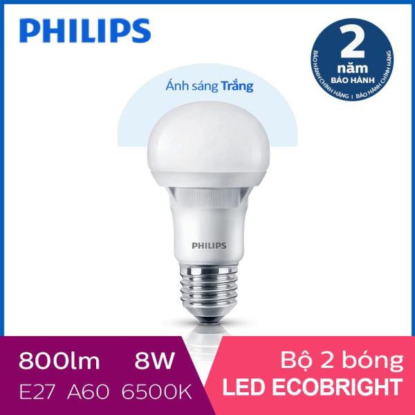 Bộ 2 Bóng đèn Philips LED Ecobright 8W 6500K E27 A60 - Ánh sáng trắng