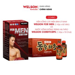 Combo cải thiện sức khỏe sinh lý Welson For Men hộp 60 viên + Đông trùng hạ thảo Welson Cordyceps hộp 10 chai thumbnail