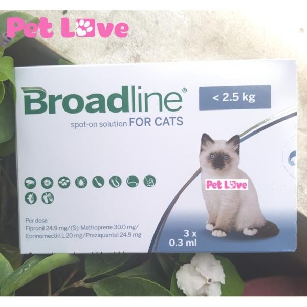 Broadline diệt nội ngoại ký sinh trùng (mèo < 2,5 kg; 1 hộp x 3 ống)