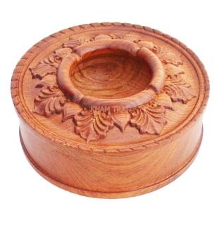 Gạt tàn tròn gỗ hương chạm khắc hoa văn tinh xảo thumbnail