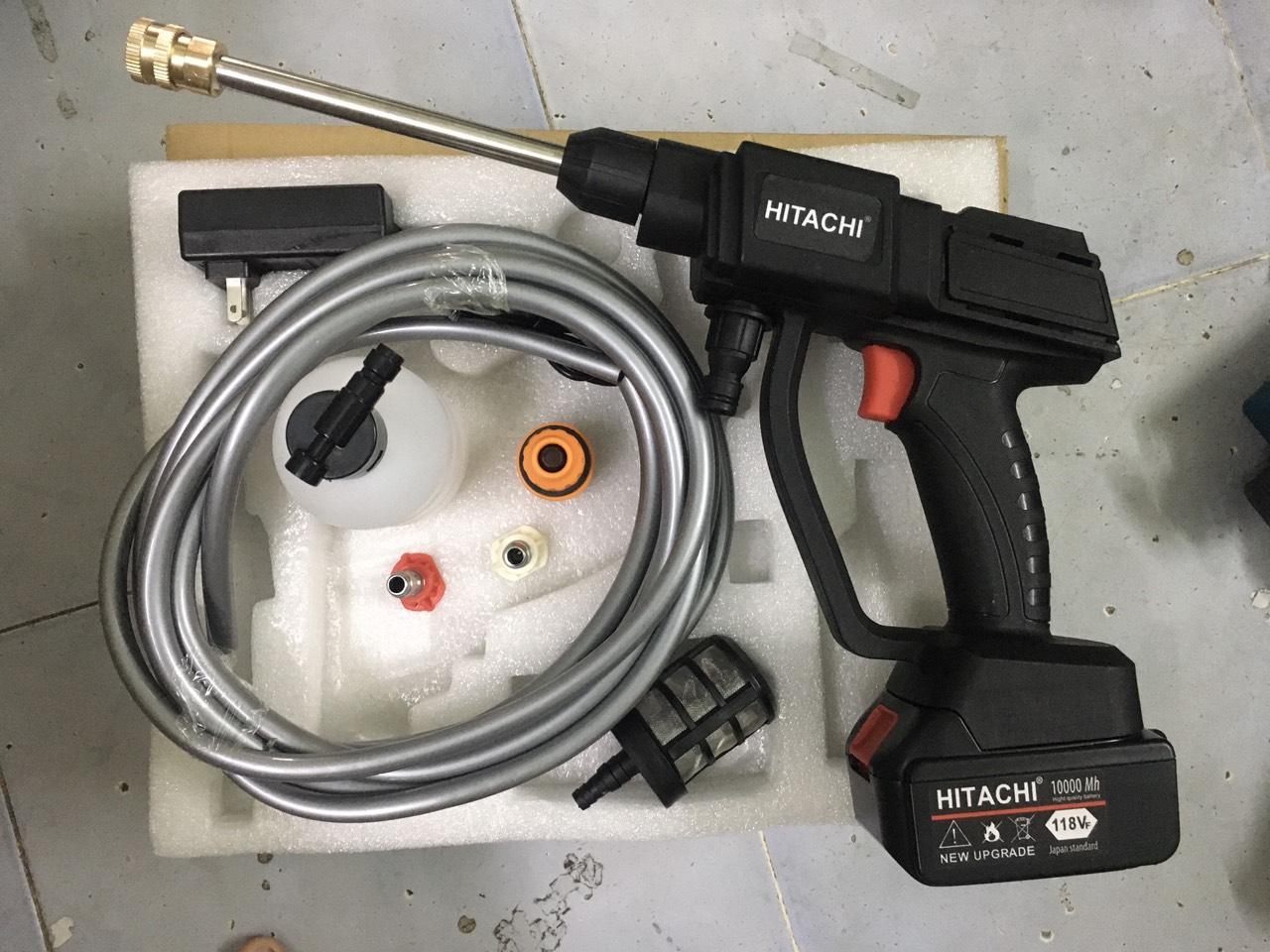 Máy rửa xe cầm tay dùng pin Hitachi 118V – Áp lực mạnh mẽ, pin sạc bền bỉ