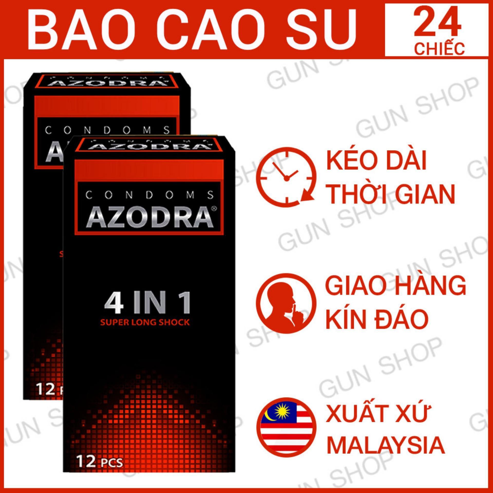 Bộ 2 (24 chiếc) Bao cao su Malaysia Azodra 4 in 1 Kéo Dài Thời Gian Quan Hệ Gân Gai - Gunshop nhập khẩu