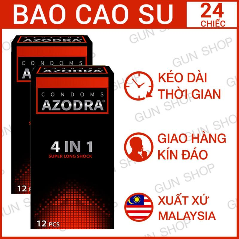 Bộ 2 (24 chiếc) Bao cao su Malaysia Azodra 4 in 1 Kéo Dài Thời Gian Quan Hệ Gân Gai - Gunshop
