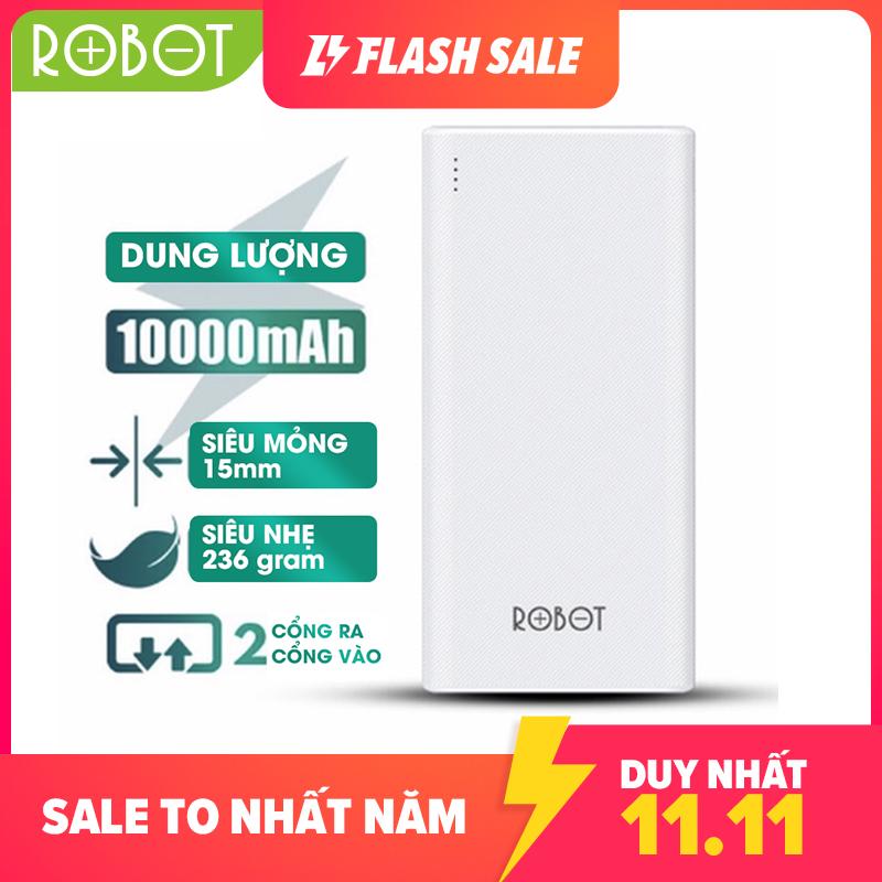 [Bảo hành 12 tháng 1 đổi 1]Pin sạc dự phòng 10000mAh ROBOT RT170 thiết kế nhỏ gọn 2 cổng USB và 2 cổng Micro Type-C tặng dây sạc Micro - Hàng chính hãng