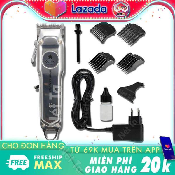 Tông đơ cắt tóc không dây chuyên nghiệp chất liệu hợp kim nhôm hàng không cao cấp Kemei KM-1997 có thể cắm điện sử dụng trực tiếp pin lithium 2000mAh chất lượng bảo hành Nét Ta tong do cat toc khong day 1997