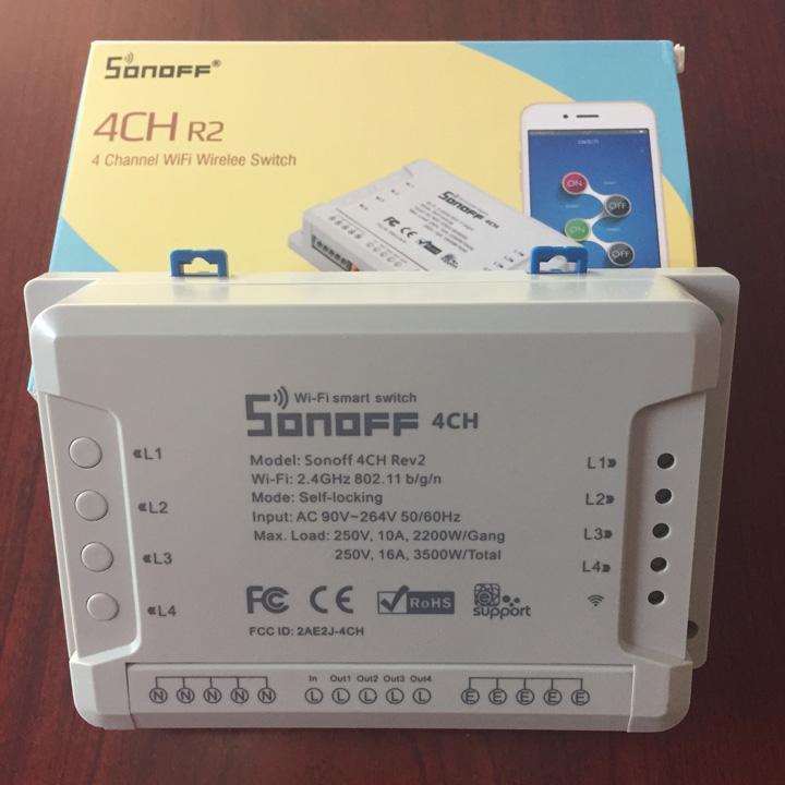 Công tắc điều khiển từ xa Sonoff 4CH R2 bằng điện thoại thông minh qua sóng wifi