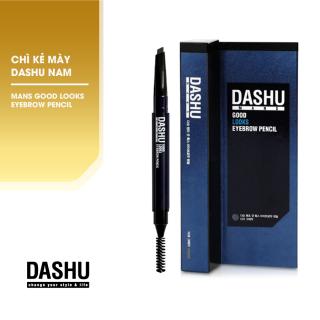 Chỉ kẻ chân mày Hàn Quốc cho Nam, bút kẻ lông mày 2 đầu Dashu Mans Good Looks Eyebrow Pencil không cần chuốt màu xám đen, đầu chì 4mm nét mềm mại, tự nhiên, màu sắc rõ ràng, bền màu, 1 đầu cọ vặn dễ sử dụng giúp tạo kiểu, tán màu đều. thumbnail
