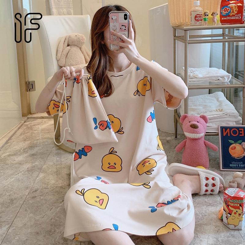 Váy ngủ nữ mùa hè ngắn tay dễ thương phong cách Hàn Quốc phù hợp với sinh viên nhiều size nhiều màu sắc LZD1493