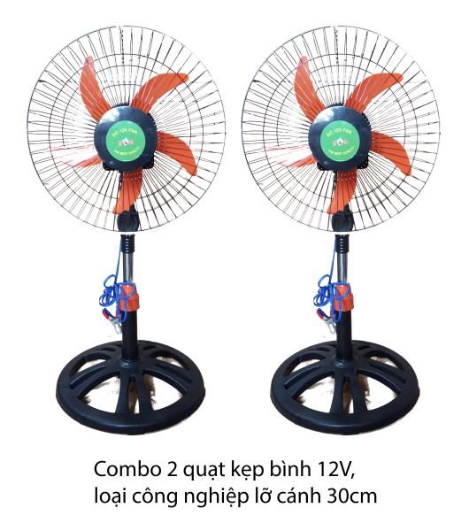 [HCM]Combo 2 Quạt Công Nghiệp 12V Cánh 30cm 3 Tốc Độ Chạy NLMT.