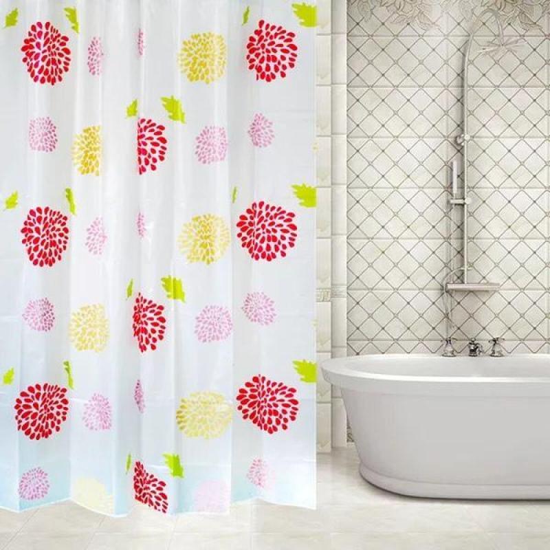 Rèm Phòng Tắm / Rèm Cửa Sổ Trắng Họa Tiết Hoa Đỏ Lớn 180cm X 180cm Loại 1