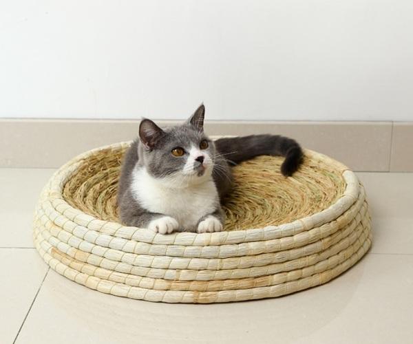 Bàn cào và nằm ngủ bằng rơm hình cái bát lớn cho mèo MON002 nhiều kích cỡ