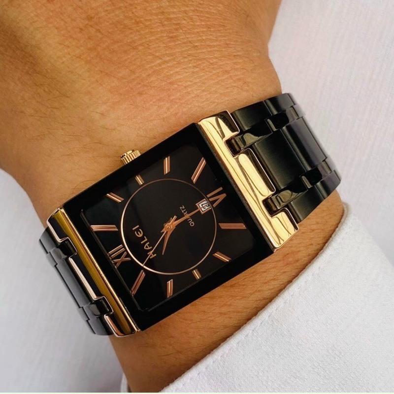 ( Tặng Kèm Hộp Đựng Và Pin ) Đồng hồ thời trang nam Halei 564M Hln1 mặt vuông dây kim loại sang trọng