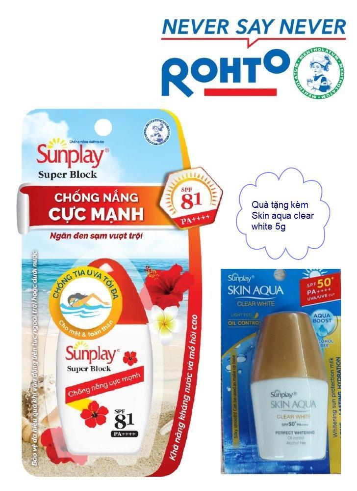 Sunplay chống nắng dưỡng da, tặng kèm chống nắng skin aqua 5g