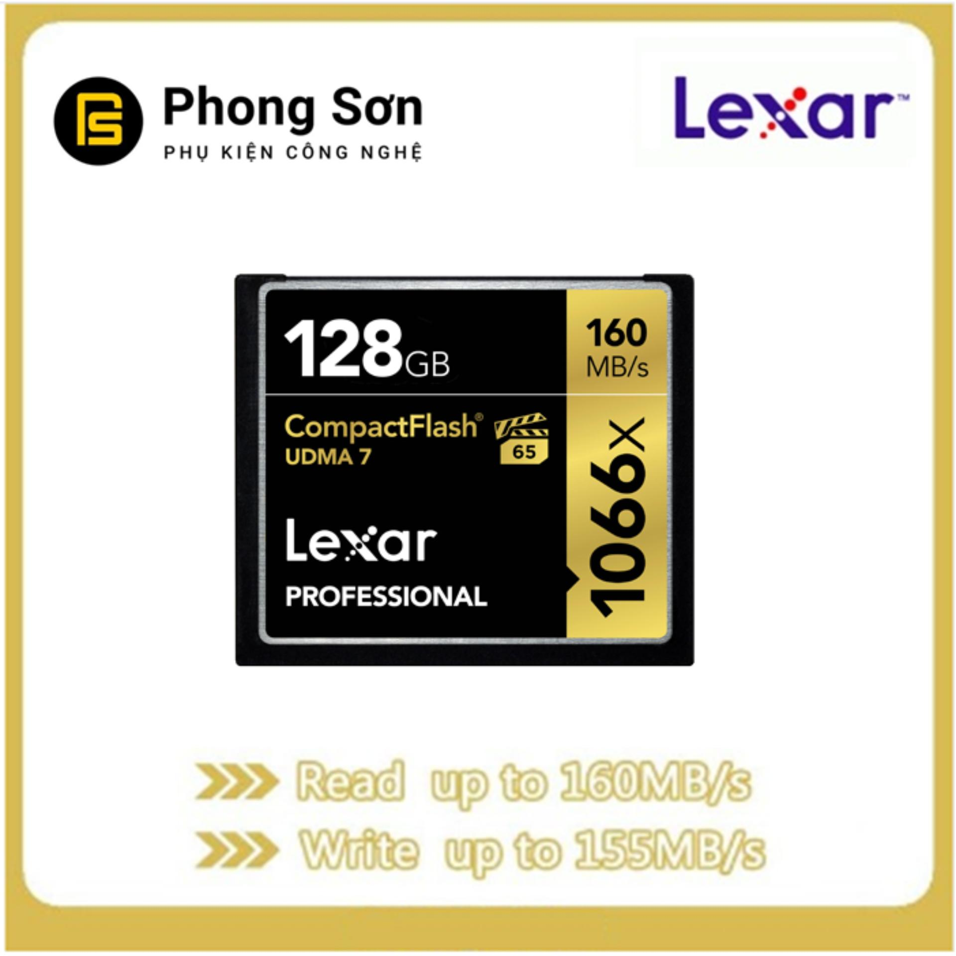 Thẻ Nhớ CF Lexar 128GB Pro 1066X 160MB/S - Cho Máy Ảnh Chuyên Nghiệp, Tốc Độ Cao (Đen, Vàng)