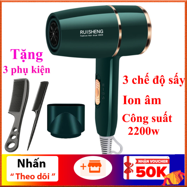 Máy sấy tóc Ruisheng công suất 2200W có ánh sáng xanh, chăm sóc ion âm cho tóc, 3 chế độ sấy, điều chỉnh nhiệt độ kiểu dáng sang trọng (Tặng kèm 3 món phụ kiện) giá rẻ