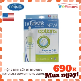 Hộp 3 bình sữa Dr Brown s Natural Flow Options 250ml - MỸ thumbnail