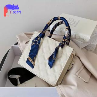 Rhombus Gird Handbag for Women New 2021 Small Square Bag - PU Shoulder Bag with Ribbon, Casual Shopping Bag thumbnail