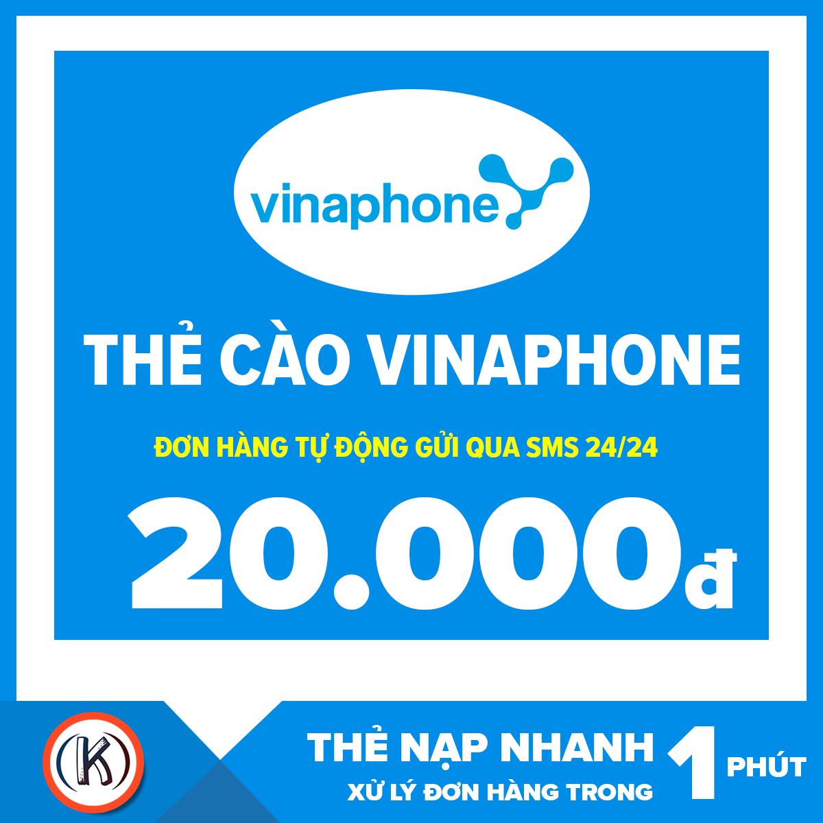 [HCM]Thẻ cào vinaphone 20.000đ (Đơn hàng tự động gửi qua Email 24/24)