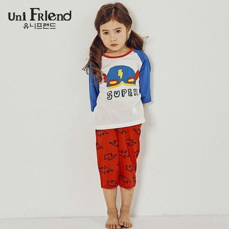 Nơi bán Đồ bộ mặc nhà bé gái Unifriend thun lửng hoạ tiết siêu nhân U9SSTL21