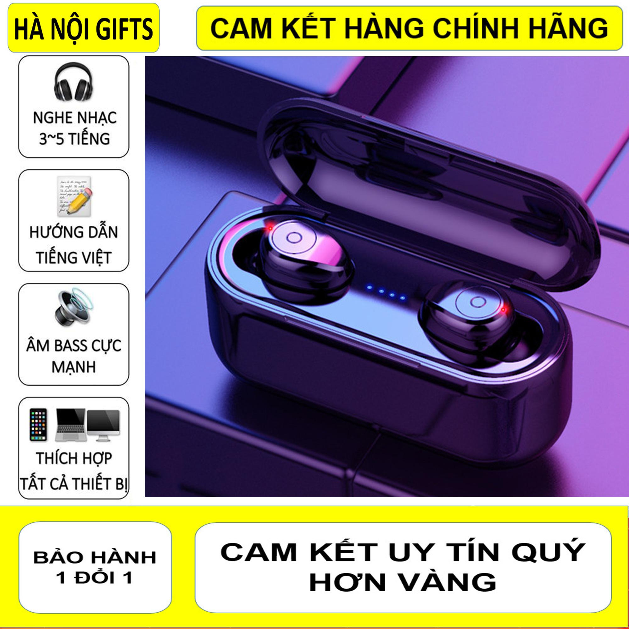 Tai Nghe Bluetooth 5.0, Tai Nghe Bluetooth Không Dây 5.0, Amoi F9 Kiêm Sạc Dự Phòng 2000mAh, Điều Khiển Cảm Ứng, Màn Led Báo Pin, Chống Nước, Chống Ồn, Âm Thanh HiFi TWS True  Siêu Bass, Siêu Trầm Micro HD Tương Thích Với Mọi Dòng Smart Phone Đang Ưu Đãi