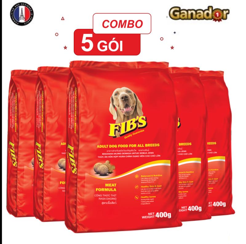 Combo 5 gói thức ăn cho chó trưởng thành Fibs 400 gram