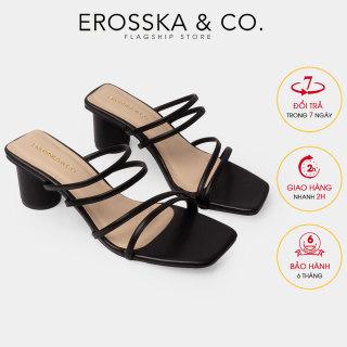 Dép nữ, Dép cao gót thời trang Erosska mũi vuông gót tròn phối dây quai mảnh kiểu dáng đơn giản cao 5cm EM038 (BA) thumbnail