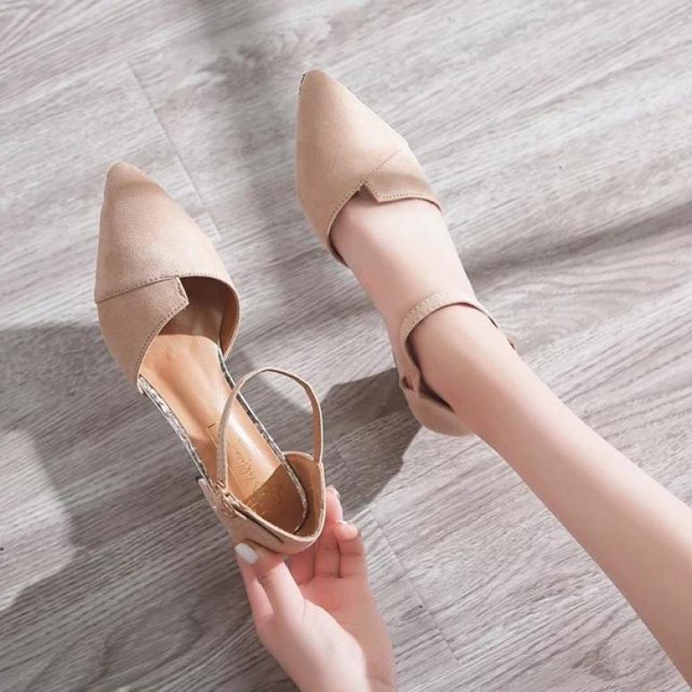 Giày cao gót vuông bảng xếp bít mũi sành điệu LZ005 giá rẻ