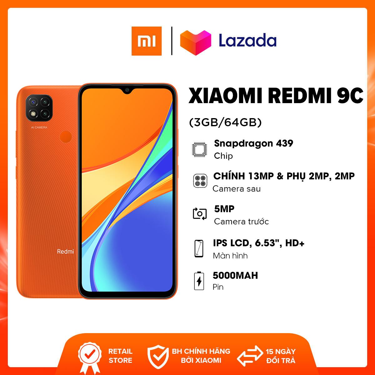 """Điện thoại Xiaomi Redmi 9C (3GB/64GB) - Chip MediaTek Helio G35 8 nhân Màn hình 6.53"""" HD+ Dung lượng Pin 5,000mAH Bảo hành chính hãng 18 tháng"""