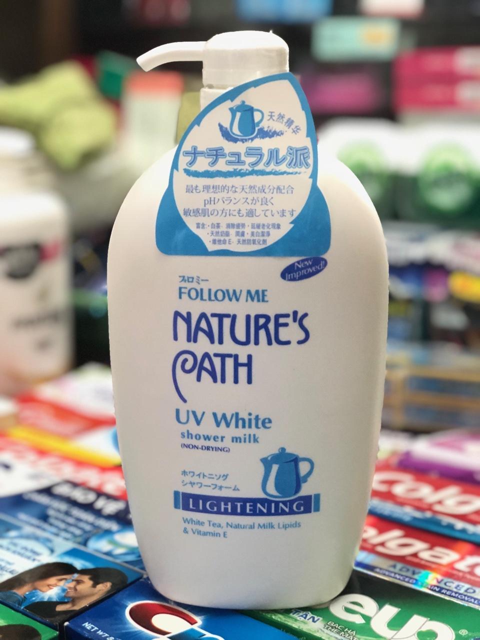 SỮA TẮM TRẮNG DA FOLLOW ME NATURE PATH UV WHITE SHOWER MILK 1000ml chính hãng