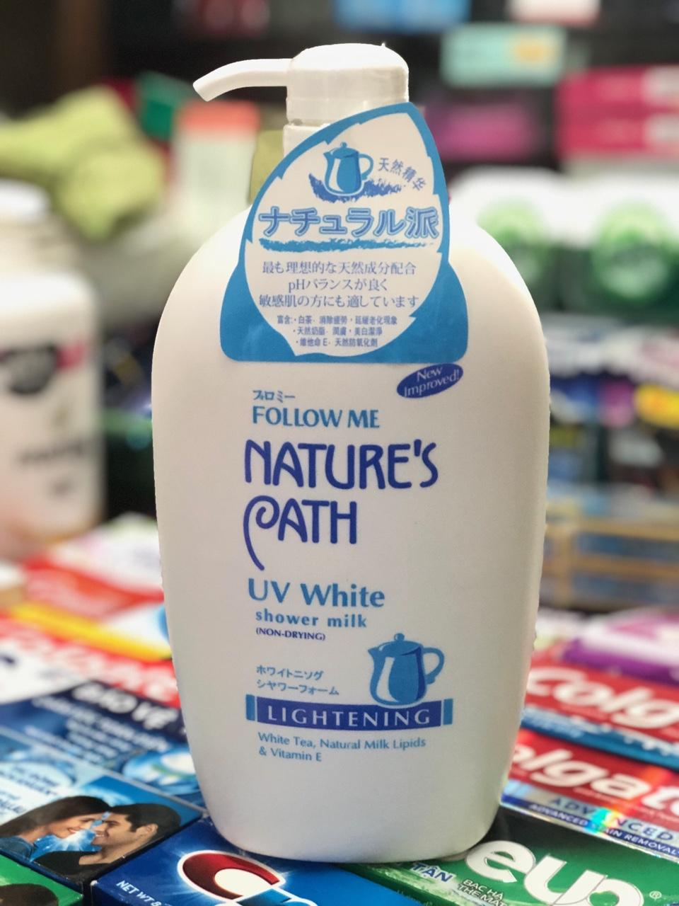 SỮA TẮM TRẮNG DA FOLLOW ME NATURE PATH UV WHITE SHOWER MILK 1000ml