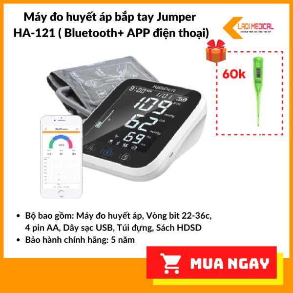 Máy đo huyết áp bắp tay Jumper HA 121 Bluetooth APP điện thoại chứng nhận FDA Hoa Kỳ Tặng nhiệt kế điện tử bán chạy