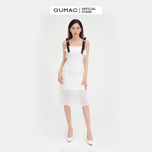 Nơi bán Váy đầm nữ đẹp kiểu dáng  2 dây lông vũ quyến rũ sang chảnh, thời trang GUMAC mẫu mới DB404, chất liệu voan dệt lông cao cấp