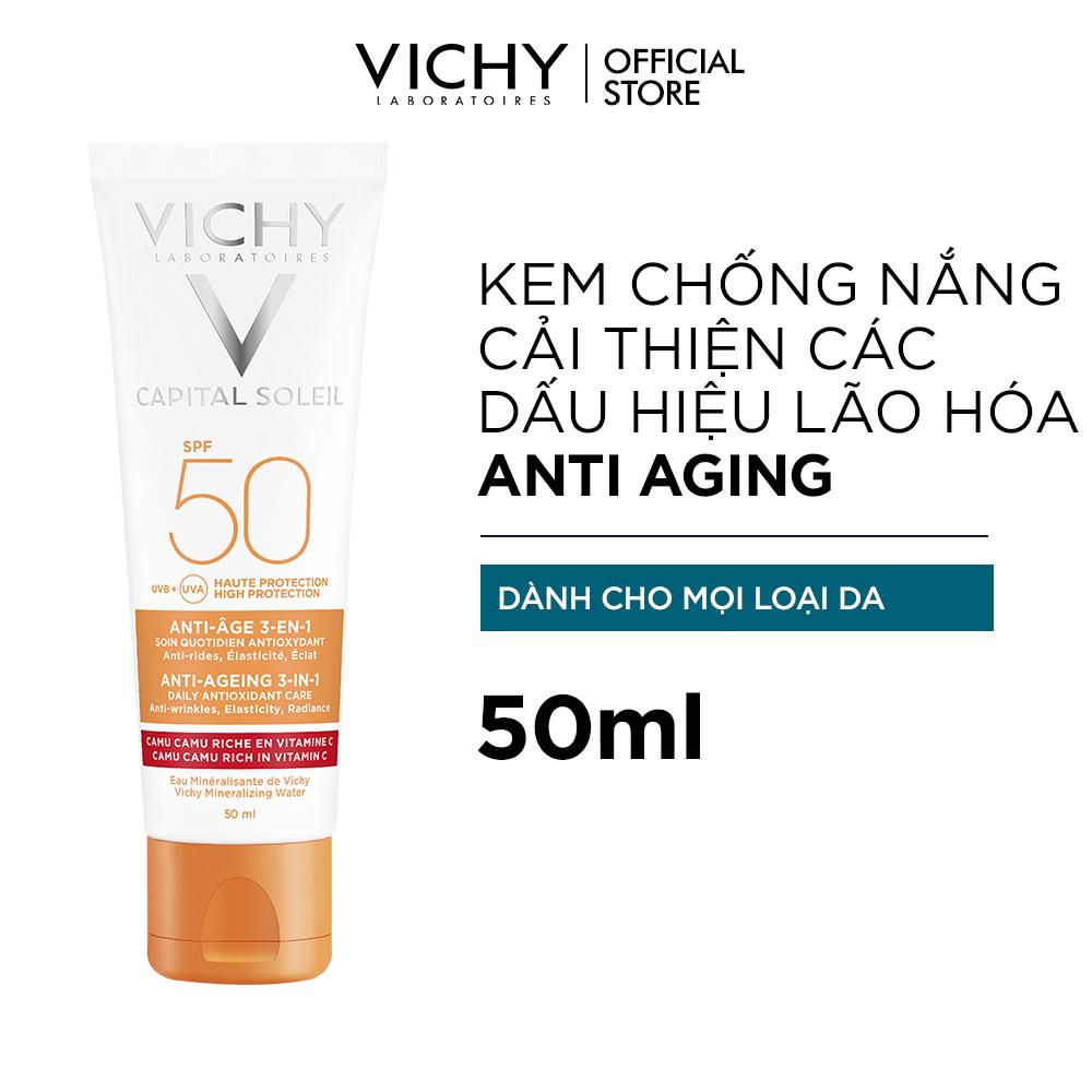 Kem chống nắng bảo vệ và giúp giảm các dấu hiệu lão hóa Capital Soleil Anti-Age SPF50 50ml