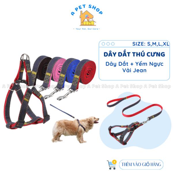 Dây dắt chó mèo dạng yếm vải Jean size S/M/L/XL - Dây xích chó mèo a pet shop từ 1- 27Kg