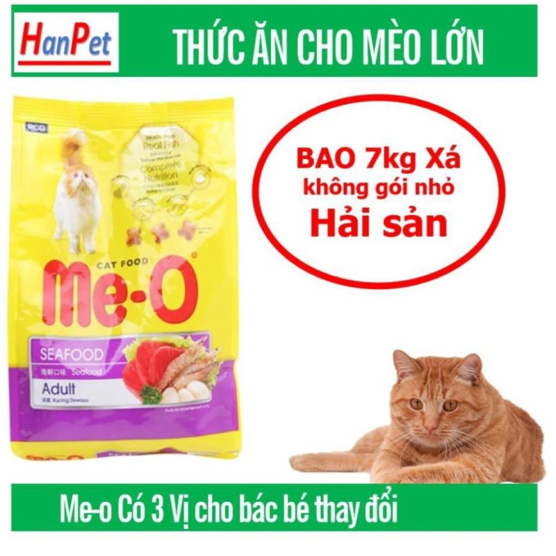 [HCM]Bao 7kg Me-o Thức ăn viên cho mèo lớn gồm 3 vị Cá ngừ Cá Thu và Hải sản đồ ăn dành cho mèo trên 1 năm tuổi