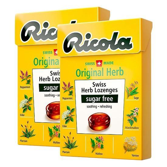 Combo 2 hộp Kẹo thảo mộc Ricola không đường hộp 40g Original Herb - Nhập khẩu Thụy Sĩ