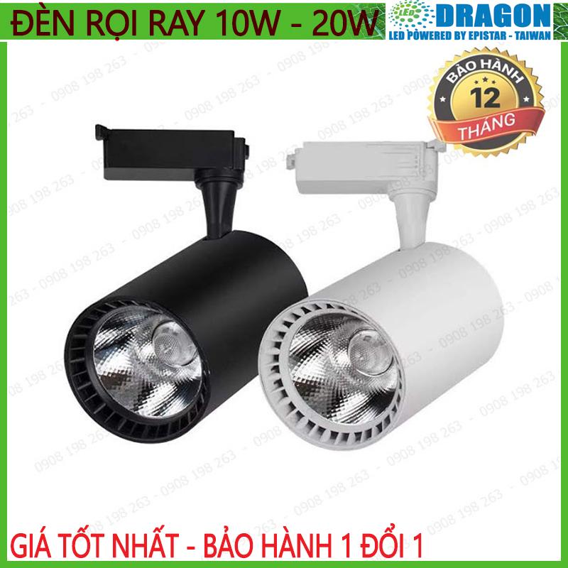Đèn rọi ray COB cao cấp 10w - 20w, vỏ trắng vỏ đen, ánh sáng trắng hoặc vàng nắng, thương hiệu DRAGO