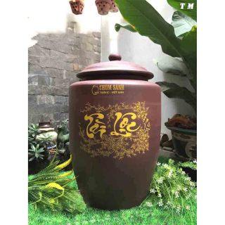 Hũ đựng gạo 10kg gốm sứ Bát Tràng màu nâu đỏ gốm sứ Bát Tràng thumbnail