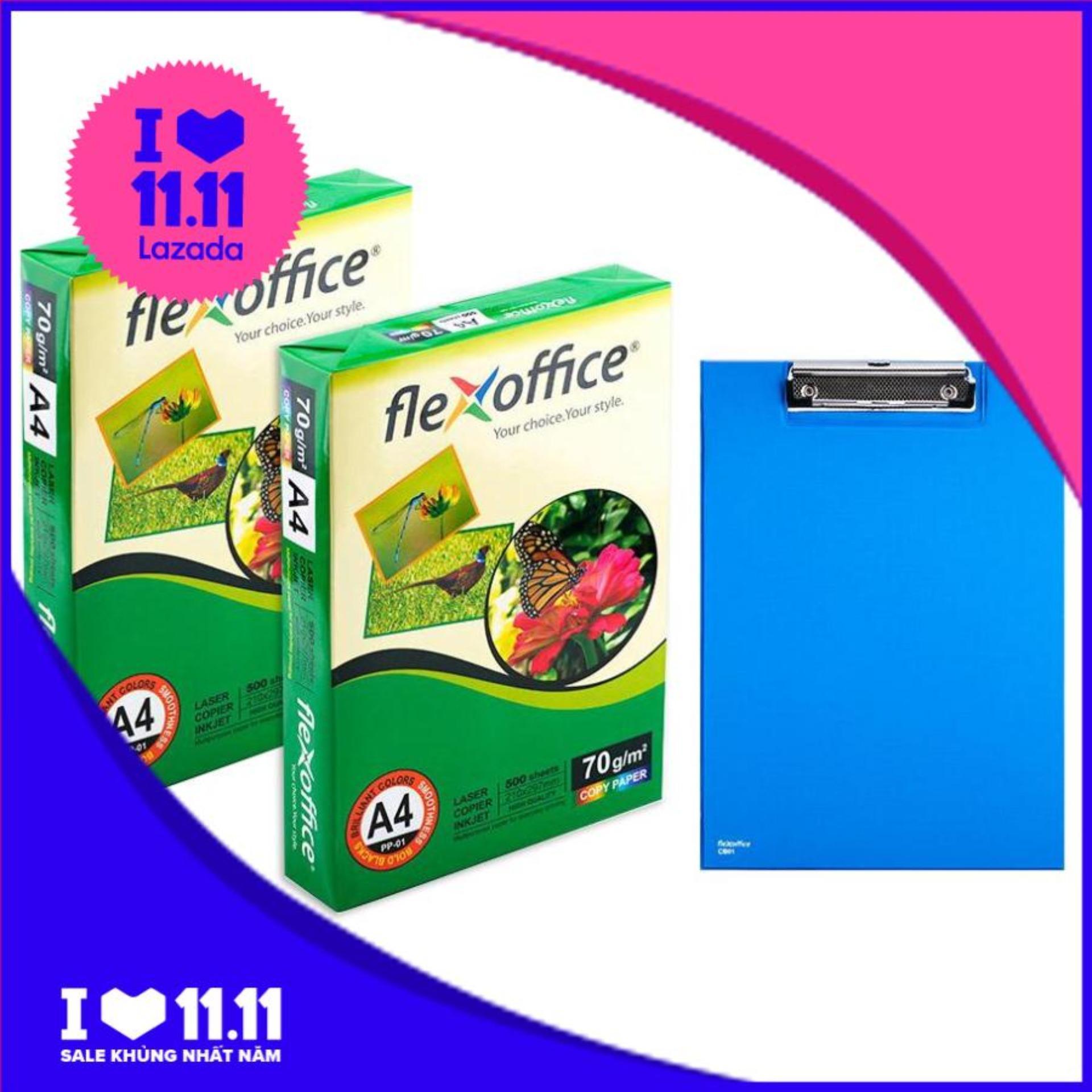 Mua Combo 2 Ream Giấy Flexoffice A4/70 PP-01 + Bìa trình ký FO-CB02