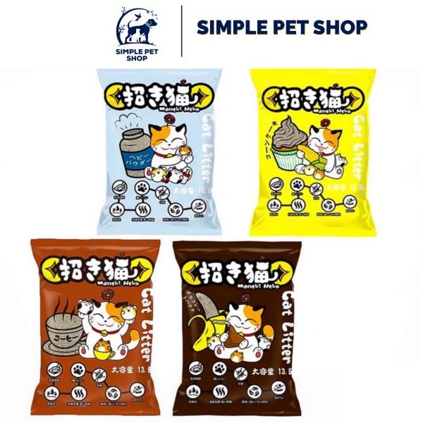 Cát vệ sinh cho mèo Maneki Neko 5L nhiều mùi thơm cafe, chanh, phấn, bắp, socola- Cát mèo siêu vón, siêu khử mùi, không bụi, mèo lớn mèo nhỏ tập đi cát, không dị ứng mũi, kháng khuẩn, kháng nấm, thú cưng Simple Pet