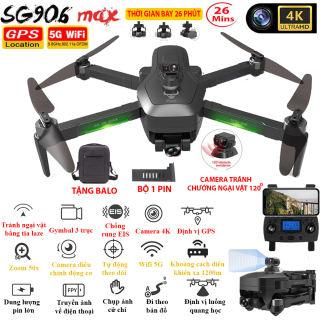 TẶNG TÚI ĐỰNG - Flycam SG906 MAX Camera 4K Tự động TRÁNH VẬT CẢN bằng tia Lazer Gymbal 3 trục Định vị GPS WIFI 5G Camera điều chỉnh lên xuống 110 độ Zoom 50X - BẢO HÀNH 12 THÁNG