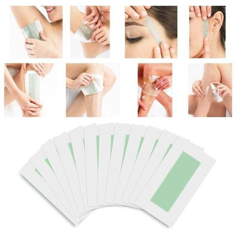 10 cái Mặt Đôi Tóc Wax Lạnh Que Giấy Cho Cơ Thể Lông Mặt Loại Bỏ-quốc tế