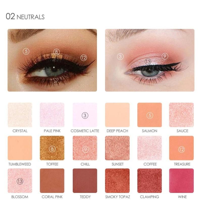 18 màu sắc/Hộp Lắc Chân Nữ Bảng Phấn Mắt Pearlized Mắt Trang Điểm Làm Đẹp Đựng Mỹ Phẩm (số 2)-quốc tế