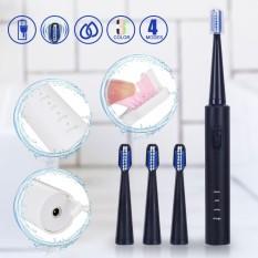 3 Chế Độ làm sạch Sạc Siêu Âm Bàn Chải Đánh Răng Điện Răng Sạch + 4 Đầu Đen-quốc tế