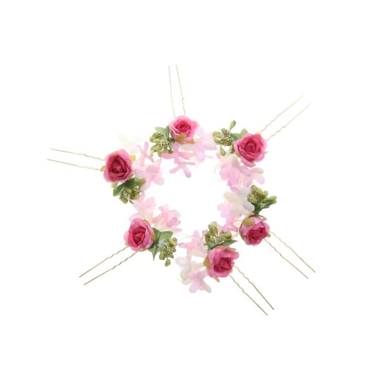 6 cái Cô Dâu Hoa Kẹp Tóc Hoa Hồng Tóc Dính Vòng Hoa Cô Dâu Phụ Kiện Hoa Hồng-quốc tế giá rẻ