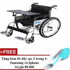Hình ảnh Bàn ăn trên xe lăn - dùng được với các loại xe lăn + Tặng 01 dây sạc điện thoại 2 trong 1