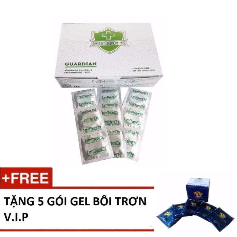 Bao cao su mỏng truyền nhiệt Tâm Thiện Chí Guardian Hộp 144 chiếc tặng 5 gói gel bôi trơn VIP