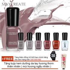 Hình ảnh Bộ 06 lọ sơn móng tay màu cao cấp Maycreate ( Mã màu 715 ) + Tặng tuýp kem dưỡng da tay hương thơm thiên nhiên ( mùi hương ngẫu nhiên )